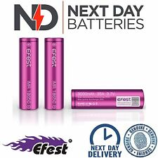3 x GENUINE EFEST 3000 MAH 35 AMP BATTERY LI-MN PURPLE 18650 IMR HIGH DRAIN VAPE