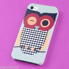 Sr Colorful Wise Owl Back Skin Hard Cover Case for Apple i-phone 4 4S 4G G