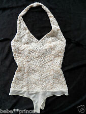 NWT bebe white beige halter lace mesh floral dress top bodysuit XS 0 2 sexy club