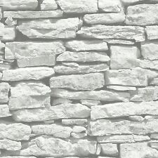 Marroquí Pared Blanco Pizarra De Piedra Wallpaper-Arthouse 623009-Ladrillos