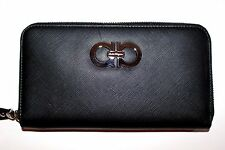 Salvatore Ferragamo Double Gancio Saffiano Leather Zip-Around Wallet Clutch Bag
