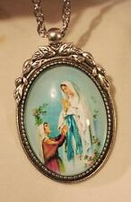Lovely Leaf Top Silvertone Our Lady of Lourdes Grotto Cameo Pendant Necklace