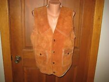 VINTAGE LEATHER SUEDE SHERPA LINED VEST TRUCKER Blackies Silverton Leathers M/L