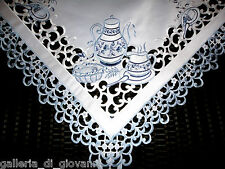 "TEATIME 43"" Lace Doily Table Topper Scarf White Blue Tea Embroidered"