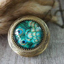 Peacock Feather Brass Locket Pendant Necklace Glass Tile