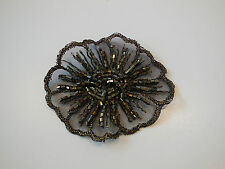 Small Gold, brown & Black beaded lace Applique on organza / lace motif.7cm x 6cm