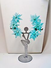 "Vintage Flower Old Plastic Blue Up Ear 3"" Clip Earrings 1940 50's Rockabilly"
