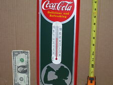 COCA-COLA Silhouette Girl -Made in USA- GAS STATION - Thermometer Sign -COLORFUL