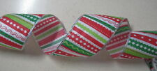 "10 yds CHRISTMAS 2 1/2""  Wired Ribbon Wreath Wedding Crafts Party"