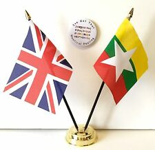 United Kingdom & Myanmar new Double Friendship Table Flags & Badge Set