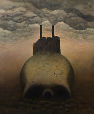 Skull Ghosts Horror Holocaust Fantasy Surrealism Oil Painting Mag Raven 30x36""
