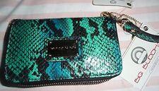"""NWT Big Buddha green faux snakeskin wrist wallet or clutch purse-   6"""" x 3 1/2""""-"""