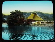 GLASS MAGIC LANTERN SLIDE A FARMERS COTTAGE C1920 JAPAN JAPANESE TAKAGI