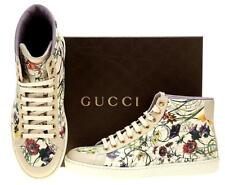 NEW GUCCI LADIES MULTI-COLORED FLORAL LEATHER HIGH TOP SNEAKERS SHOES 39G/9.5