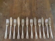 Vintage French Christofle Fidelio Fish Flatware Set 12 pcs Silverplate