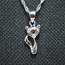 """Rhodium Plated 925 Sterling Silver Cute Fox 18"""" Chain Necklace Gift"""