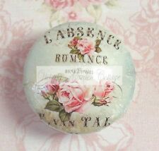 FRENCH SCRIPT ROSES PINK BLUE Ceramic Knob PRETTY Cabinet Drawer Pull Words