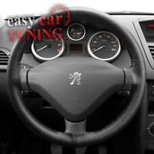 FOR NEW PEUGEOT 407 BLACK REAL GENUINE 100% LEATHER STEERING WHEEL COVER