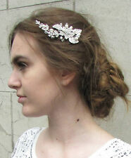 Silver Pearl Bead Flower Hair Comb Diamante Ivory Vintage Bridal Flower Deco 2AQ