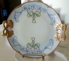 Antique Art Nouveau Hutschenreuther Hand Painted Cake Plate Bow Handles 1906