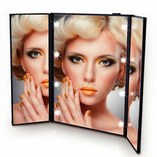 Tri-Fold Tabletop 8LED Lighted Cosmetic Vanity Makeup Mirror Beauty Travel Black