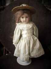 "COLLECTOR DOLL STUFFED BODY BISQUE HEAD LIMBS 15"" IN VICTORIAN DRESS ON STAND"
