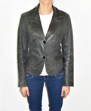 Blue Leather REBEL Fitted Button Hips Length Blazer Women's Coat Jacket Sz 36 M