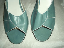 "JUJU LEATHER OPEN TOE BACKLESS BLUE SHOES W/ 2"" HEELS. SZ 7.5 MADE IN ITALY"