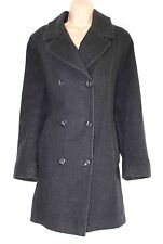 VINTAGE Charcoal Grigio Lana Mix Tweed Finn-Flare montato WOMEN'S Pea Coat Sz UK 14 16