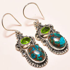 COPPER AZURITE MALACHITE , FACETED PERIDOT  925 STERLING SILVER EARRINGS 1.50""