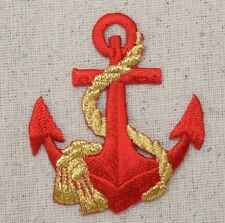 Iron On Embroidered Applique Patch Nautical Red Ship Anchor with Gold Rope