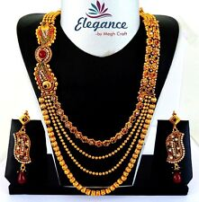 BOLLYWOOD ANTIQUE ONE GRAM GOLD PLATED SOUTH INDIAN STRING STYLE JEWELRY SET