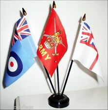 BRITISH ARMED FORCES TABLE FLAG SET army navy RAF FLAGS