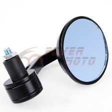 """Black Motorcycle CNC Aluminum Bar End Rearview Round Mirror For 7/8"""" Kawasaki FM"""