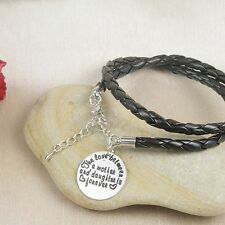 B4 Black Leather Wrap Mother and Daughter Love Bracelet