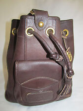 Vintage Dooney & Bourke Brown Pebbled Leather Cinch Sling Backpack Purse Tote