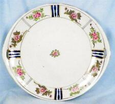 Hand Painted Nippon Cake Cookie Plate Pink Roses Blue Bands Serving Small Chip