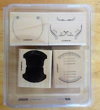 2008 Stampin Up TOTALLY TABS 4pc RUBBER INK STAMP SET Fold Over Label Balloons
