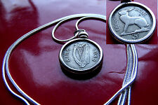 "Lovely 1942 IRELAND Harp & Hare Coin Pendant on a 30"" 925 Silver Snake Chain"