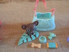 Littlest Pet Shop LPS Lot Chihuahua #219 Brown Blue Accessories Home Travel  8-2