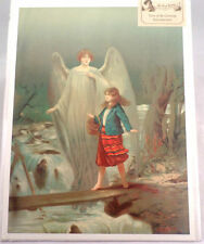 """Victorian Lithograph Print Picture """"Guardian Angel With Girl """" 12X16"""