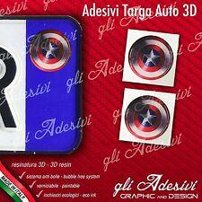 2 Adesivi Stickers bollino 3D Resinato targa Auto Moto CAPTAIN AMERICA scudo