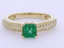R083 Genuine 9K SOLID Gold NATURAL Emerald & Diamond Engagement Ring size N