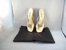 """Lily Holt Gold Beaded 1"""" Strappy Wedge Beaded Sandals Size 9M"""