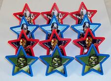 Marvel Avengers Patriotic Stars Rings, 12 Pack Cupcake Toppers, Party Favors