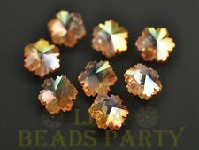 New 10pcs 14X7mm Snowflake Faceted Glass Pendant Loose Spacer Beads Gold Rose