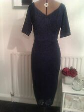 Next Dresses gorgeous size 14 black & navy all lace fully lined dress