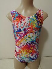NEW RAINBOW ABSTRACT WHITE LYCRA RED FOIL DOTS AXS 56cm Sz 12 Gymnastics Leotard