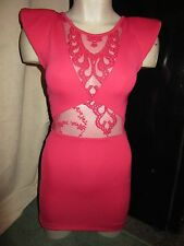 BNWT £45 TopShop Dress UK 6 Bright Pink Sheer Lace Panel Embroidery Bodycon