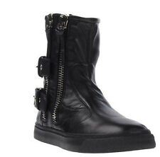 GIUSEPPE ZANOTTI Italian Calfskin Leather Zip-Up & Buckle Boots 10 US 43 EU